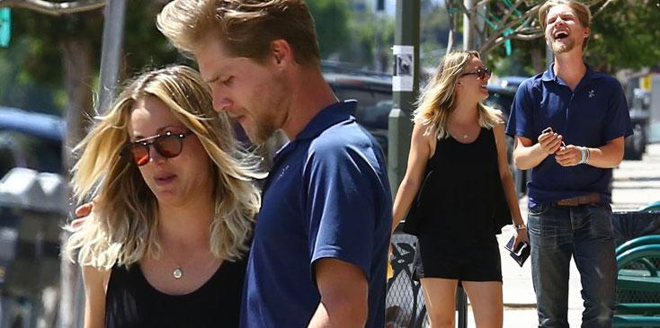 kaley cuoco karl cook date holding hands