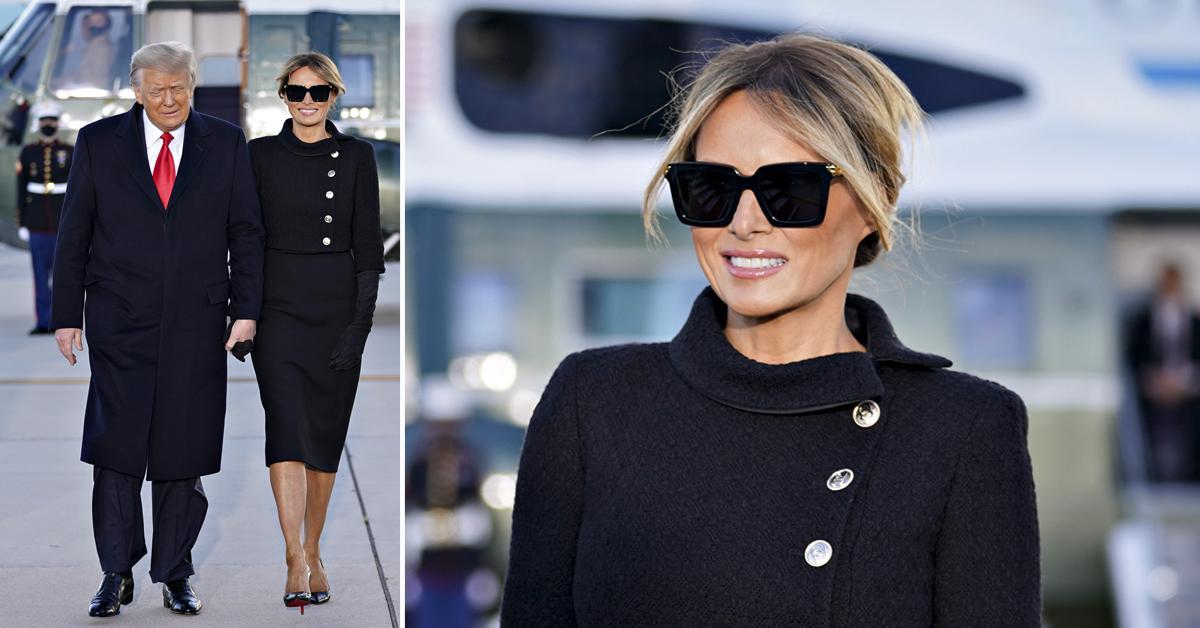melania trump leaves office black suit pf