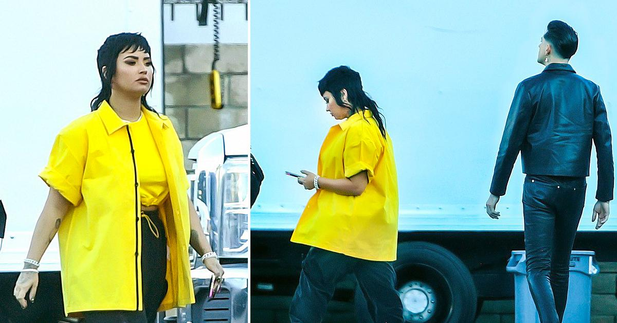 demi lovato sports a funky mullet while on the set of a music video with rapper g eazy in los angeles
