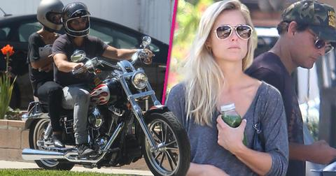 peter facinelli riding motorcycle with mystery blonde