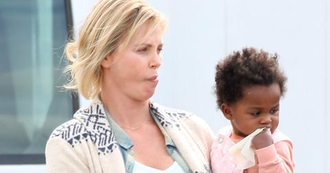 *EXCLUSIVE* Charlize Theron gets a visit from her kids while filming 'Tully'