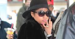 Nicki Minaj shows off her giant yellow diamond ring engagement ring at JFK