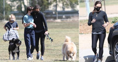 jennifer garner out for walk with kids and dogs pf