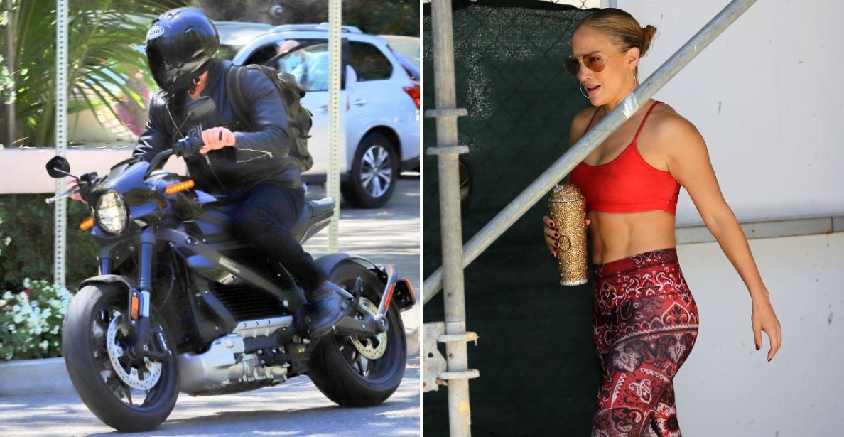 fast track to love ben affleck races his motorcycle to jennifer lopezs la home