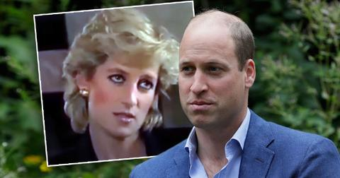 Inset of Princess Diana from Martin Bashir BBC interview; Prince William