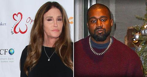 Left, Caitlyn Jenner Wearing Black Crew-neck Dress, Right Kanye West Wearing Maroon Sweater