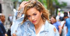 Rita Ora shows off her long legs in a jean on jean mini skirt and a jacket