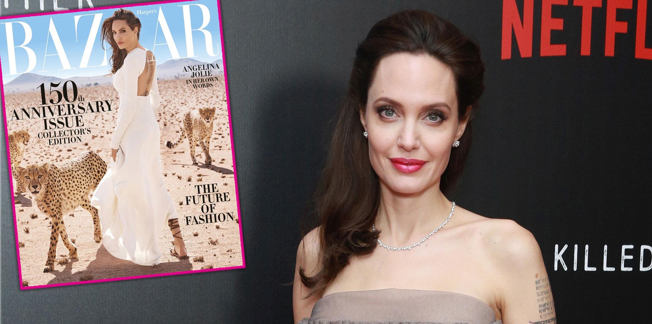 Angelina Jolie Harpers Bazaar Harvey Weinstein Pics Long