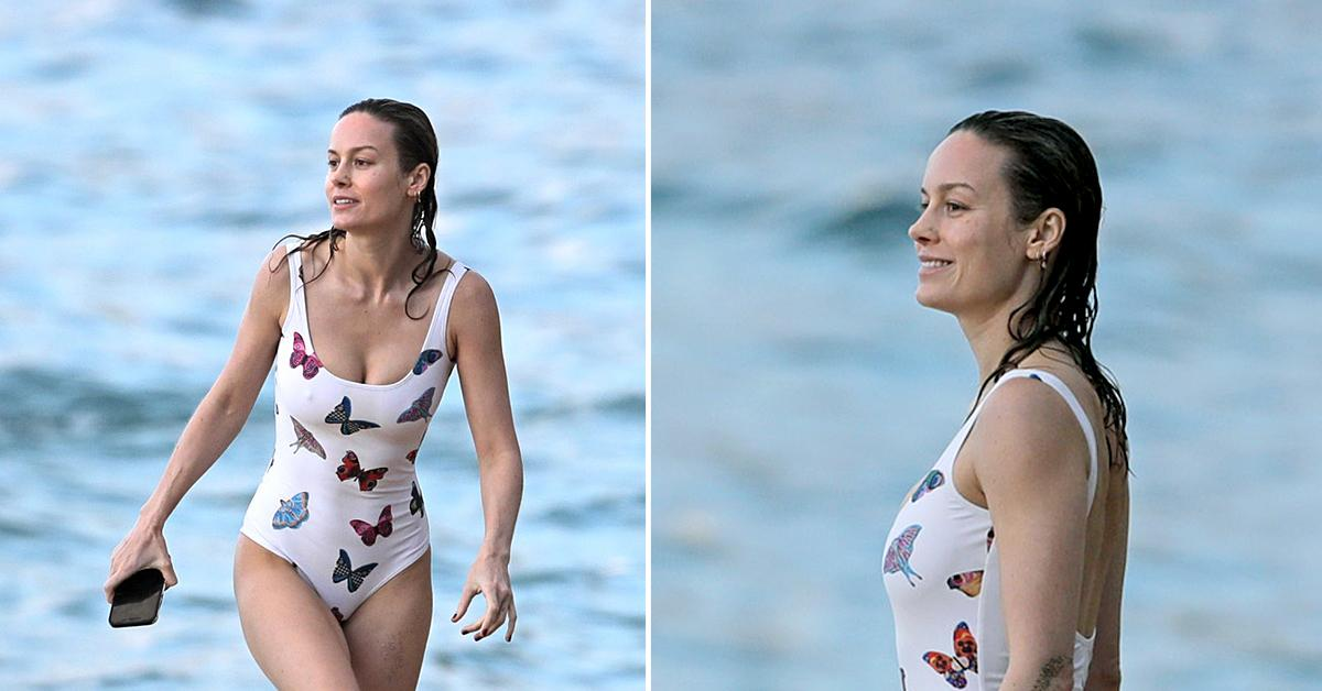 brie larson relaxes on the beach in hawaii