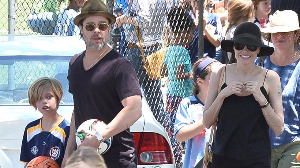Brad Pitt, Angelina Jolie, Shiloh and Zahara At Soccer Game