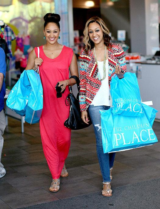 Tia Mowry Hardrict and Tamera Mowry Housley at The Children's Place