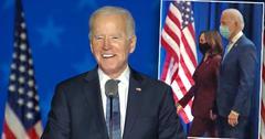 Joe Biden, inset Kamala Harris and Joe Biden walking to podium. Joe Biden Wins, Returns to the Oval Office