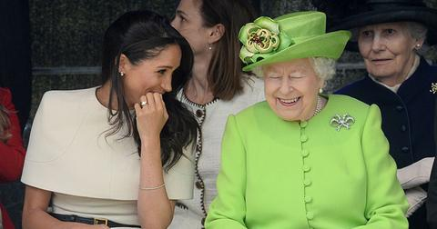 meghan markle makes the queen smile first joint appearance pp