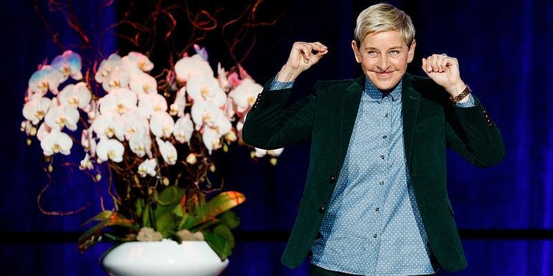 Ellen Degeneres on stage in 2018
