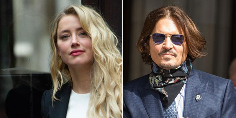 Amber Heard with hair down next to picture of Johnny Depp Wearing Sunglasses