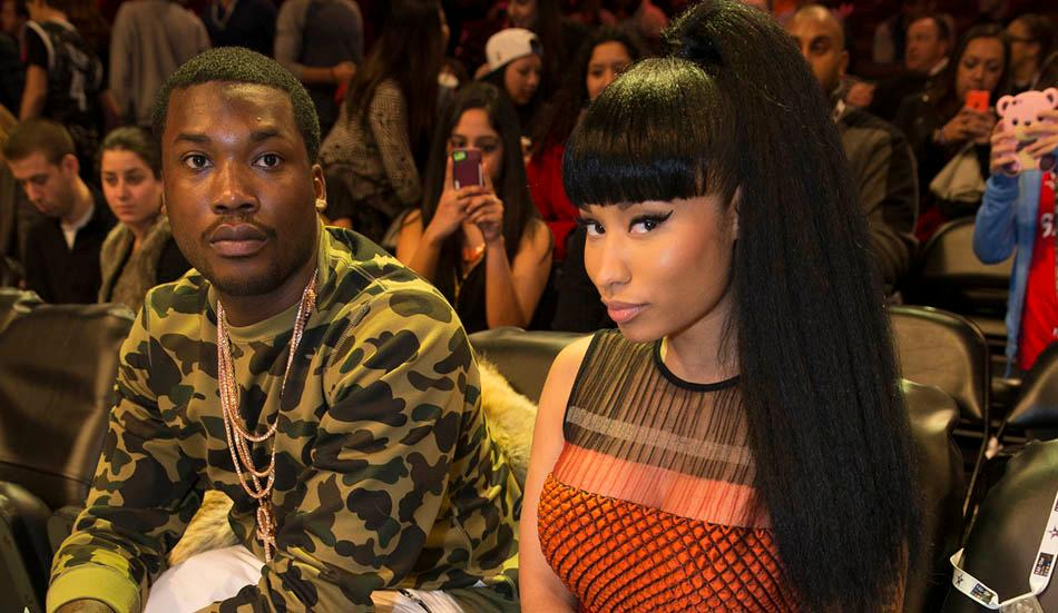 Nicki Minaj sits court side enjoying the NBA All Star Slam Dunk Contest at Barclays Center