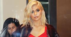 Kylie Jenner out and about in a sizzling red mini skirt and new platinum blonde hair in New York