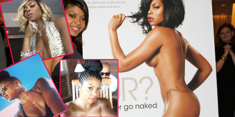 A photo of naked Taraji P. Henson alongside the actress as she attends the PETA New York Fashion Week Party at the Stella McCartney Shop on February 10, 2011 in New York City