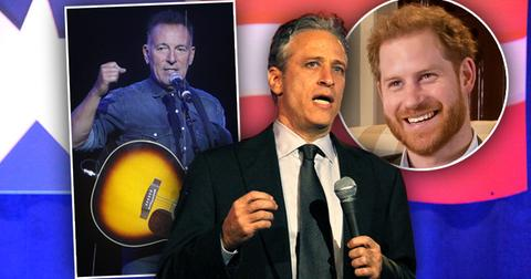 Jon Stewart Bruce Springsteen at Stand Up for Heroues, inset of Prince Harry