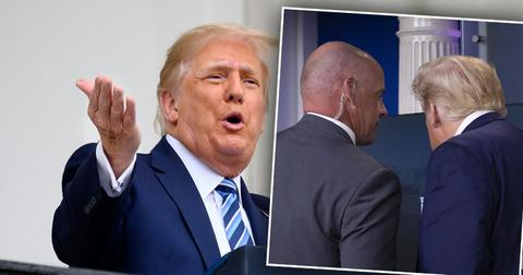 Donald Trump Speacking, Inset of Donald Trump in confrence with secret Service Agent No Mask