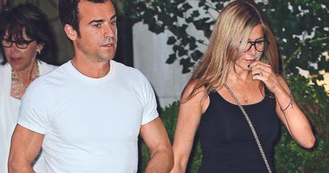 Jennifer Aniston and Justin Theroux go out with their mothers Nancy Dow and Phyllis Grissim Theroux in NYC