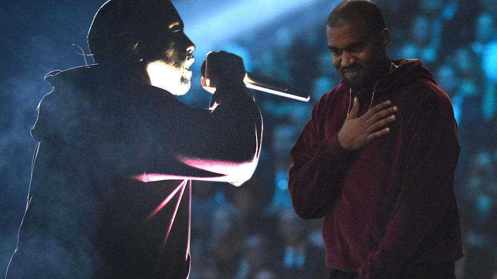 Kanye west performing at the 2015 grammy awards
