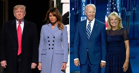 president joe biden jill donald trump melania holding hands couple photo pf