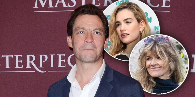Dominic West Does Damage Control With Wife (inset) After Kissing Lily James (top Inset)