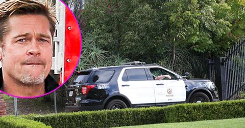 Police arrive to the jolie pitt compound after child abuse allegations.