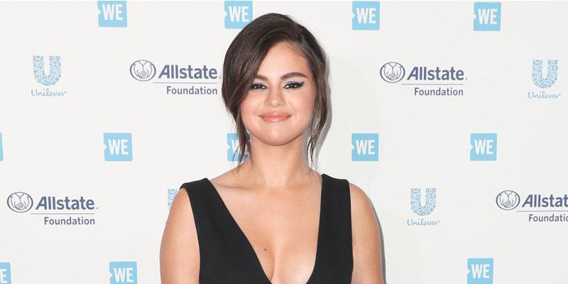 Selena Gomez In Black Dress On Red Carpet New Tattoo