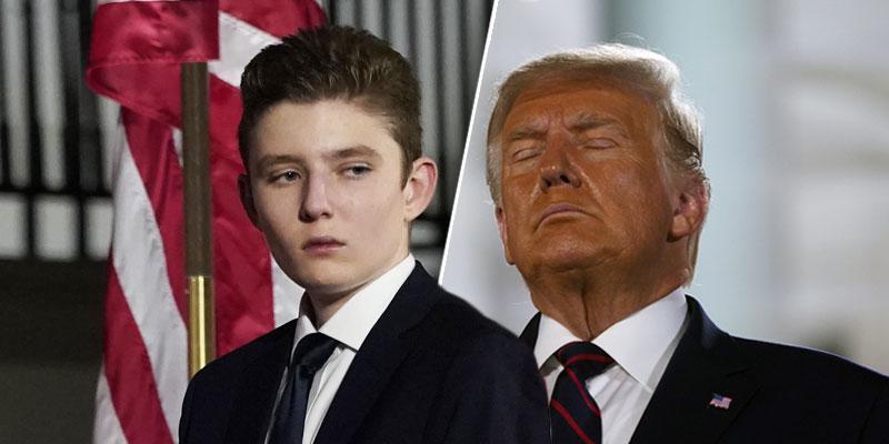 Split photo of Barron Trump (left)Donald Trump