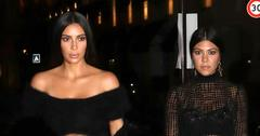 Kim Kardashian and her sister Kourtney arrive at the Ritz hotel