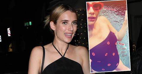 Pregnant [Emma Roberts] Poses Poolside In One-Piece Swimsuit