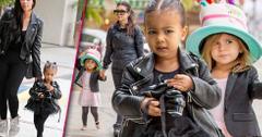 Kim kardashian north west black leather jackets ballet class