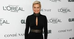 Yolanda Hadid wears a black long sleeved dress with a cleavage baring cutout at the 2017 Glamour Women of the Year Awards.