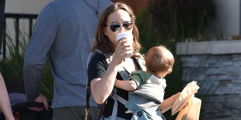 Natalie portman juggling coffee baby snack main