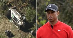 tiger woods rollover car accident crash site photos pf