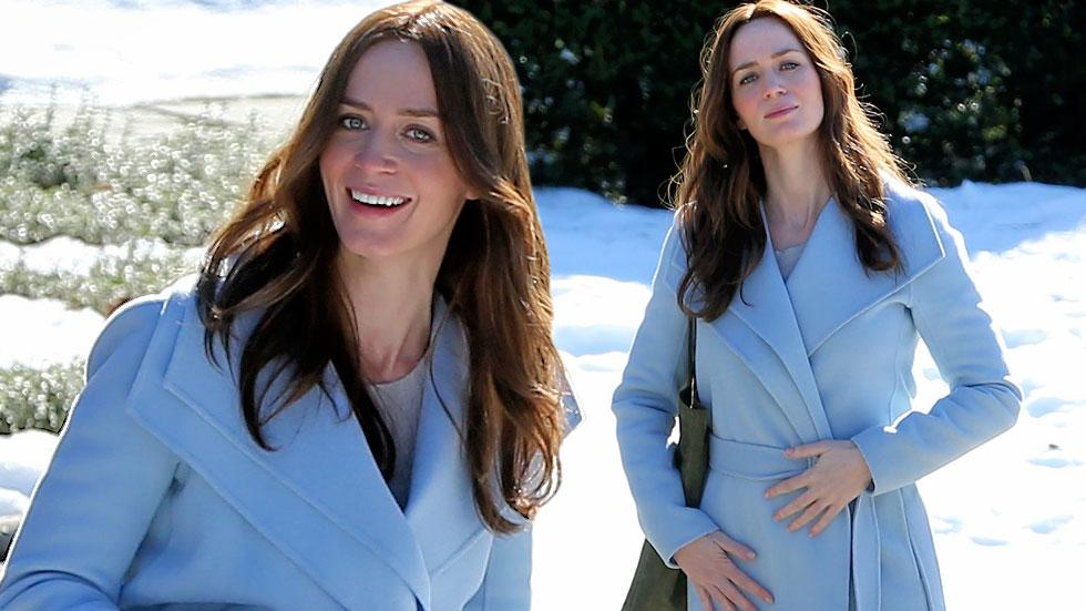 pregnant emily blunt filiming the girl on the train