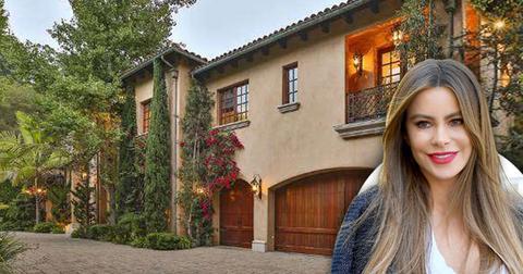 Sofia Vergara home, Inset Smiling Sofia Vergara, Inside Sofía Vergara's Splashy Beverly Hills Villa: Photos