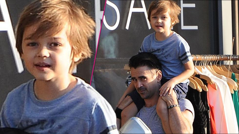 Collin Farrell Smiles While Carrying Son