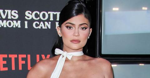 Kylie Jenner White Dress Red Carpet Topless Travis Scott
