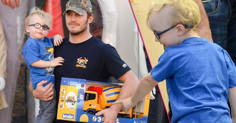 chris pratt takes son jack to a toy store