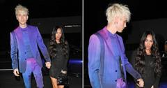 megan fox and machine gun kelly walk hand in hand as they head to the nice guy restaurant to party pf