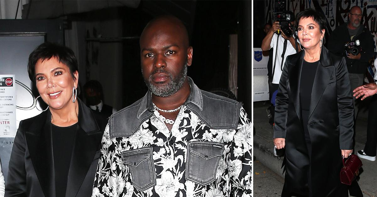 kris jenner and corey gamble seen leaving dinner at craigs restaurant in west hollywood
