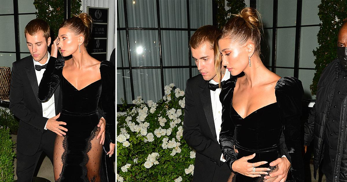 justin bieber and hailey bieber are all dressed up as they attend freedom art experience gallery ok