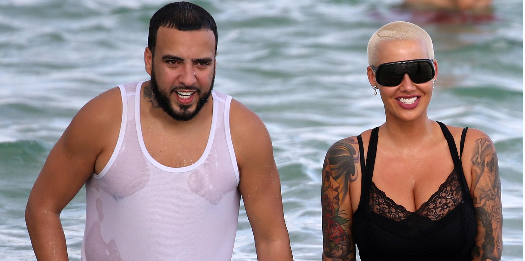 Amber Rose Wearing a Black one Piece on the Beach With Rumored new Boyfriend French Montana in Miami