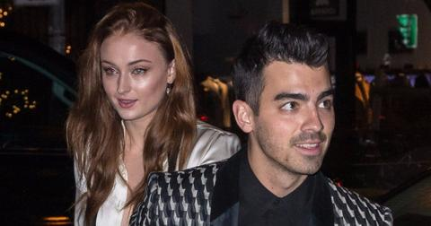 Joe Jonas and Sophie Turner arrive with guests for their engagement dinner in NYC