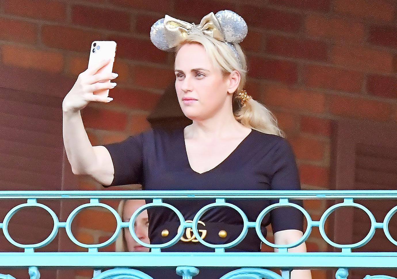 rebel wilson disneyland mickey mouse ears selfie