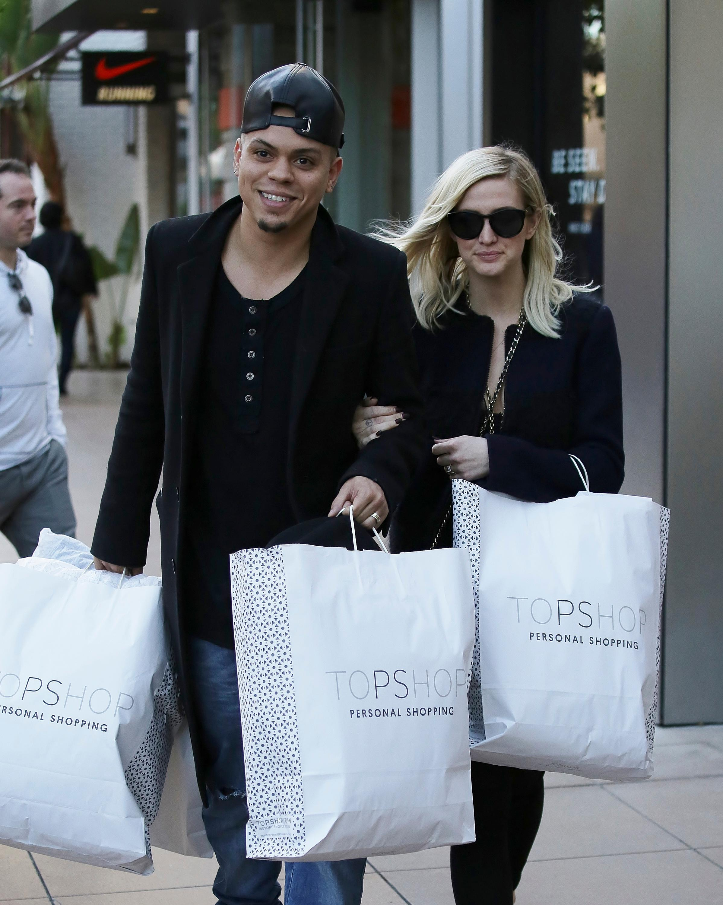 Ashlee Simpson and Evan Ross were seen shopping at Topshop Topman in West Hollywood, California