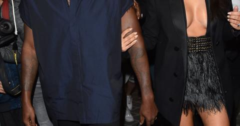 Kanye West and Kim Kardashian attend the Lanvin show